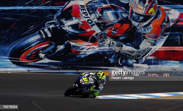 Valentino Rossi of Italy rides the Team Fiat Yamaha during practice for the 2007 Red Bull US Grand Prix part of the MotoGP World Championships at the...