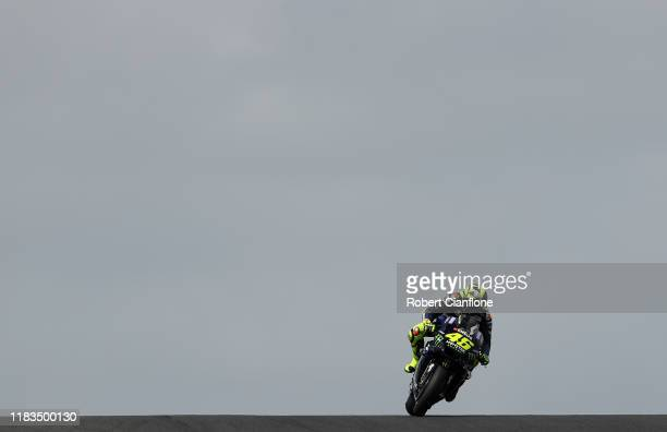 Valentino Rossi of Italy rides the Yamaha Factory Racing Yamaha during qualifying for the 2019 MotoGP of Australia at Phillip Island Grand Prix...