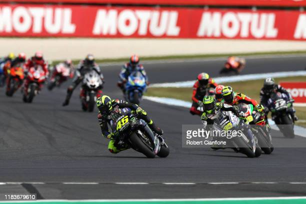 Valentino Rossi of Italy rides the Yamaha Factory Racing Yamaha leads the field during the 2019 MotoGP of Australia at Phillip Island Grand Prix...