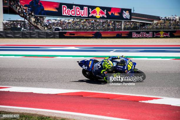 Valentino Rossi of Italy rounds the bend during the MotoGP Red Bull US Grand Prix of The Americas Race at Circuit of The Americas on April 20 2018 in...