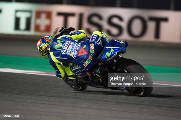 Valentino Rossi of Italy who rides Yamaha for Movistar Yamaha MotoGP during free practice session 1 during the Grand Prix of Qatar on March 23, 2017...
