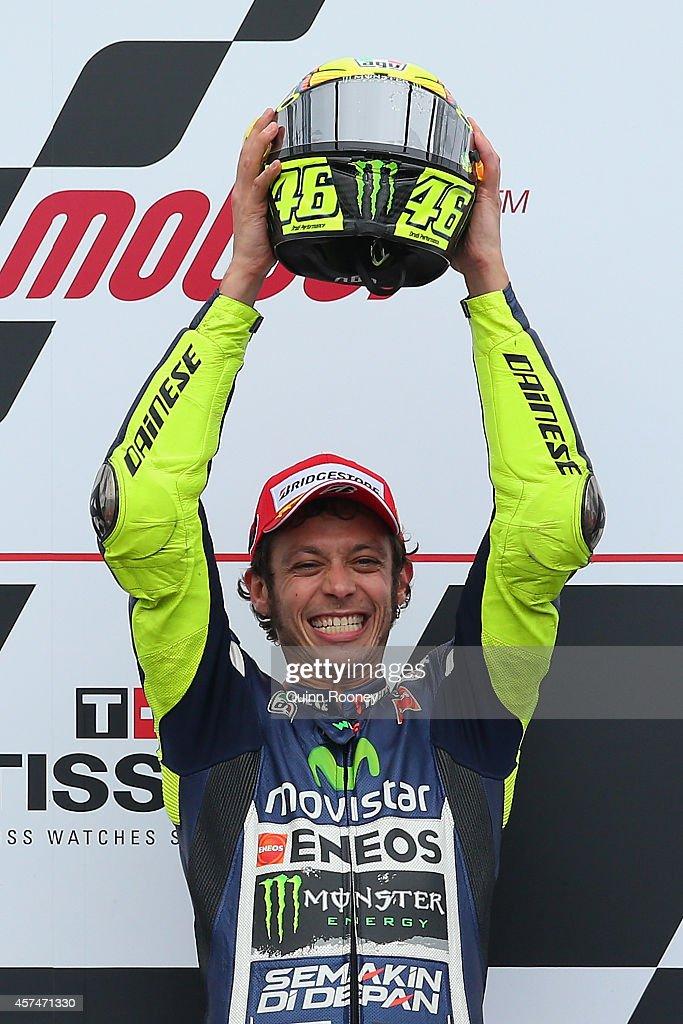 Valentino Rossi of Italy who rode the #46 Movistar Yamaha MotoGp Yamaha celebrates winning the 2014 MotoGP of Australia at Phillip Island Grand Prix Circuit on October 19, 2014 in Phillip Island, Australia.