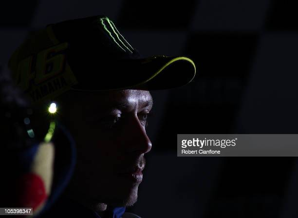 Valentino Rossi of Italya and the Fiat Yamaha Team talks to the media at a press conference prior to the Australian MotoGP which is round 16 of the...