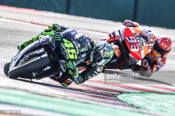 Valentino Rossi of Monster Energy Yamaha MotoGP Team and Marc Marquez of Repsol Honda Team during the MotoGP of San Marino - Practice at Misano World...