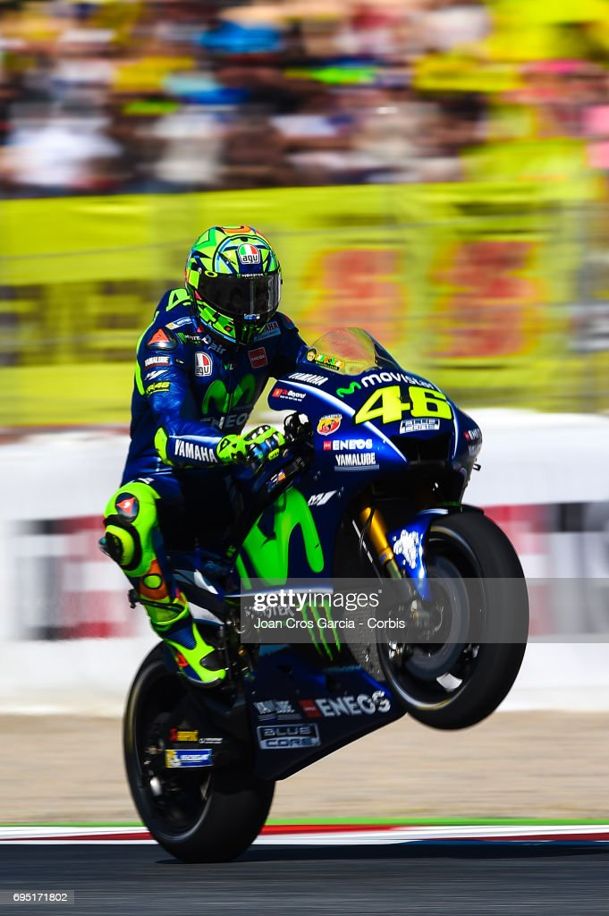 Valentino Rossi of Movistar Yamaha Moto GP team, greeting his fans after the Moto GP race, Moto GP of Catalunya at Circuit de Catalunya on June 11, 2017 in Montmelo, Spain.