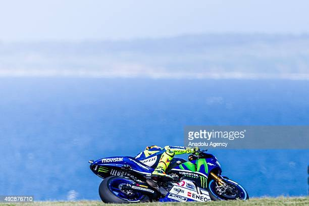 Valentino Rossi of Movistar Yamaha MotoGP during MotoGP free practice of the 2015 MotoGP of Australia Phillip Island Grand Prix Circuit on October 16...