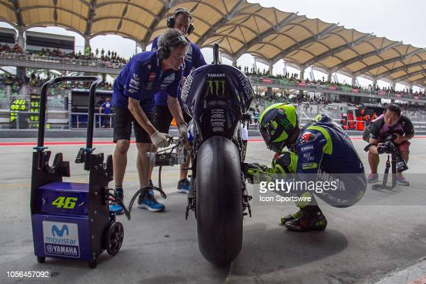 Valentino Rossi of Movistar Yamaha MotoGP in action during friday's free practice session of the Malaysian Motorcycle Grand Prix on November 02 held...