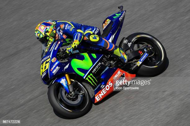 Valentino Rossi of Movistar Yamaha MotoGP in action during saturday's free practice session of the Malaysian Motorcycle Grand Prix on October 28 at...