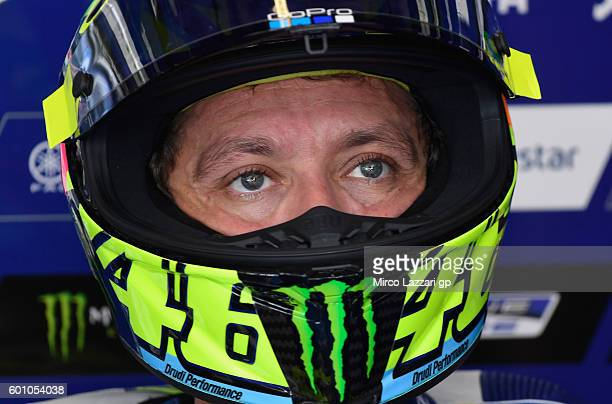 Valentino Rossi of Movistar Yamaha MotoGP looks on in his pit during MotoGP of San Marino Free Practice at Misano World Circuit on September 9 2016...