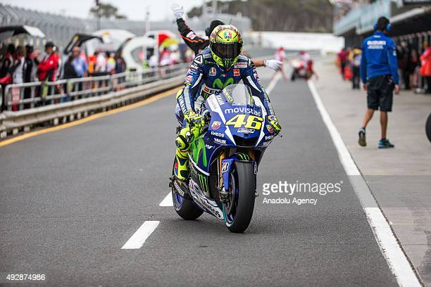 Valentino Rossi of Movistar Yamaha MotoGP rides down pit lane during MotoGP free practice of the 2015 MotoGP of Australia Phillip Island Grand Prix...