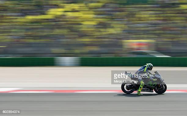 Valentino Rossi of Movistar Yamaha MotoGP team in action during MotoGP of San Marino race at Misano World Circuit on September 11 2016 in Misano...