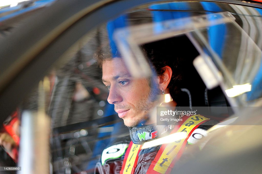 Valentino Rossi of Team Kessel Racing - Ferrari 458 Italia sits in his car in the garage area during the Blancpain GT Endurance test day one at Autodromo di Monza on April 13, 2012 in Monza, Italy.