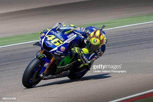 Valentino Rossi of Team Movistar Yamaha at Motorland Aragon Circuit on September 27 2015 in Alcaniz Spain