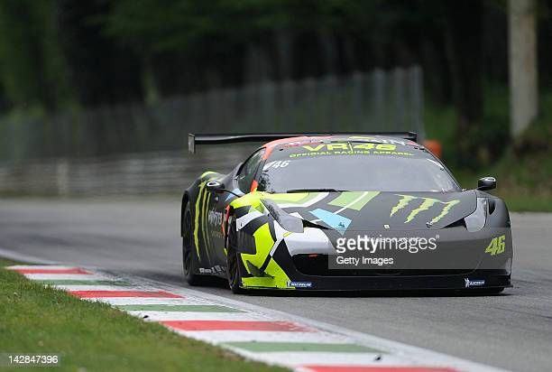 Valentino Rossi of team Team Kessel Racing Ferrari 458 Italia in action during the Blancpain GT Endurance test day one at Autodromo di Monza on April...