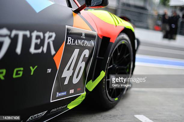 Valentino Rossi of team Team Kessel Racing Ferrari 458 Italia makes his way out of the garage during the Blancpain GT Endurance test day one at...
