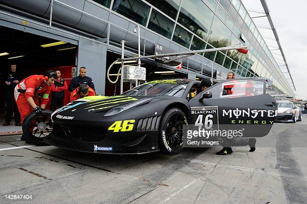 Valentino Rossi of team Team Kessel Racing Ferrari 458 Italia stops in the pit lane during the Blancpain GT Endurance test day one at Autodromo di...