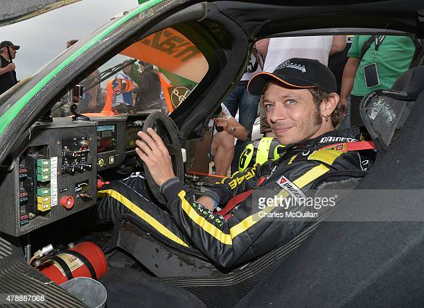Valentino Rossi prepares to take part in the famous Hill Climb driving a Mazda during the Festival of Speed on June 28 2015 in Chichester England