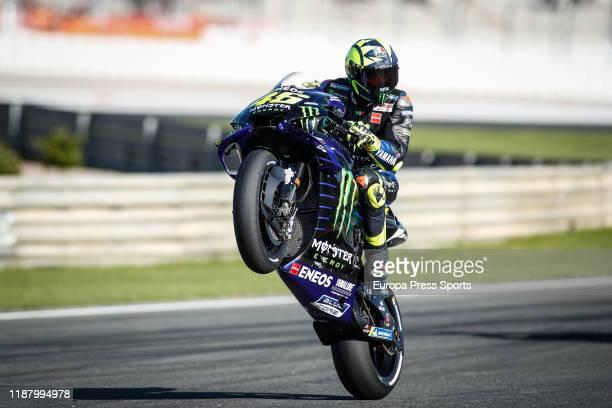 Valentino Rossi, rider of Monster Energy Yamaha MotoGP from Italy, wheelie during the Free Practice 3 during the Gran Premio Motul de la Comunitat...