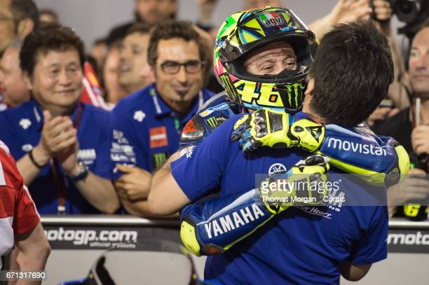 Valentino Rossi who rides Yamaha for Movistar Yamaha MotoGP in the parc ferme after finishing third during the Grand Prix of Qatar at the Losail...