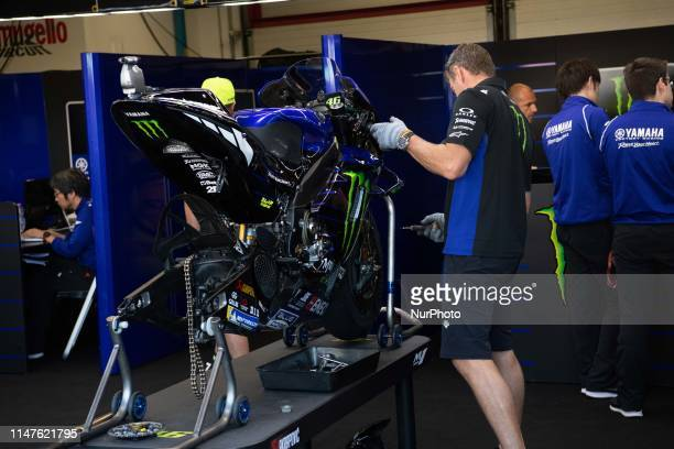 Valentino Rossi's bike in the pits for modifications in race Day 4 at the Mugello International Cuircuit for the sixth round of MotoGP World...