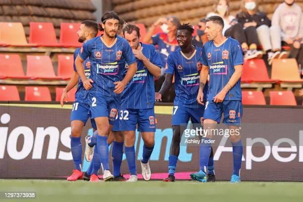 Valentino Yuel of the Jets during the A-League match between the Newcastle Jets and the Brisbane Roar at McDonald Jones Stadium, on January 20 in...