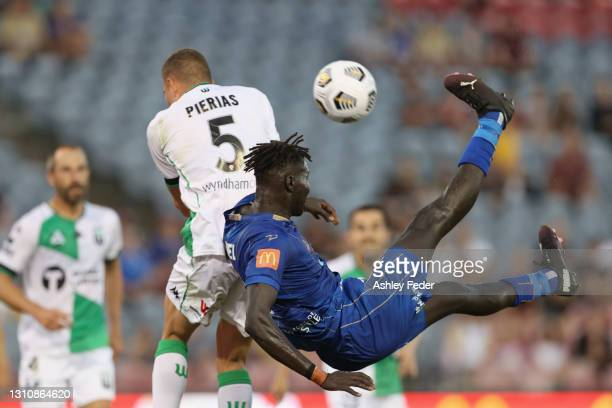 Valentino Yuel of the Jets kicks at goal during the A-League match between the Newcastle Jets and Western United FC at McDonald Jones Stadium, on...