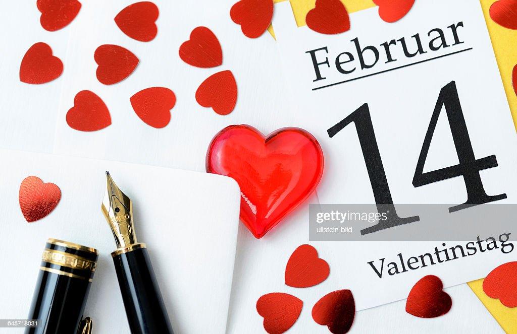 Valentinstagsbrief Und Kalenderblatt 14 Februar