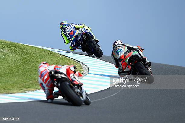 Valention Rossi of Italy and Movistar Yamaha MotoGP and other riders head over Lukey Heights during free practice for the 2016 MotoGP of Australia at...