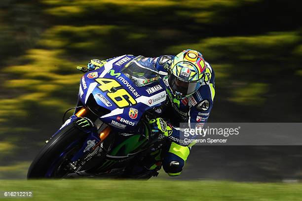 Valention Rossi of Italy and Movistar Yamaha MotoGP rides during qualifying for the 2016 MotoGP of Australia at Phillip Island Grand Prix Circuit on...