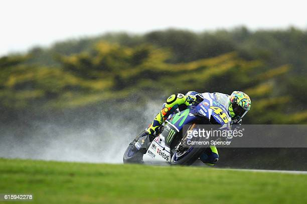 Valention Rossi of Italy and Movistar Yamaha MotoGP rides during free practice for the 2016 MotoGP of Australia at Phillip Island Grand Prix Circuit...