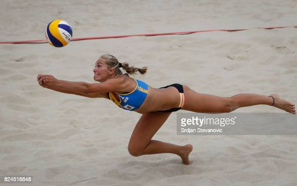 Valentyna Davidova of Ukraine try to save the ball during the Women's Pool E Main draw match between Ukraine and Austria on July 30 2017 in Vienna...