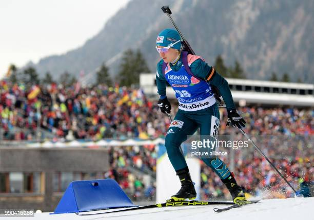 Valentyna Semerenko of Ukraine competes in the 15km women's single race at the Biathlon World Cup in Ruhpolding Germany 11 January 2018 Photo...