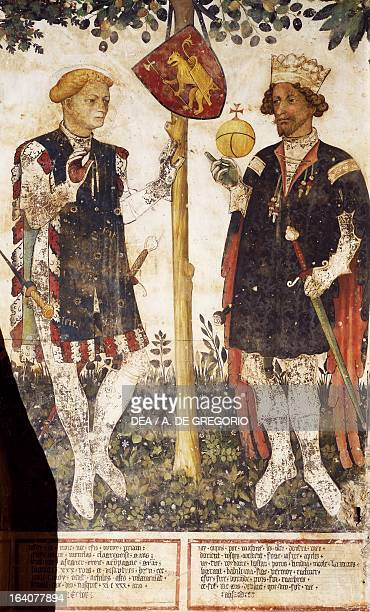 Valerano and Thomas II Heroes detail from the frescoes in the Baronial Hall by Giacomo Jaquerio Castello della Manta Saluzzo Cuneo Italy