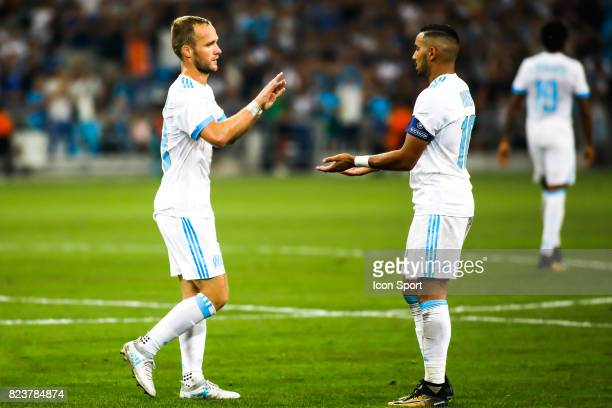 Valere Germain and Dimitri Payet of Marseille during the UEFA Europa League qualifying match between Marseille and Ostende at Stade Velodrome on July...