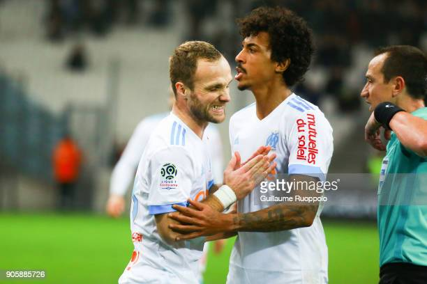Valere Germain and Luiz Gustavo of Marseille during the Ligue 1 match between Olympique Marseille and Strasbourg at Stade Velodrome on January 16...
