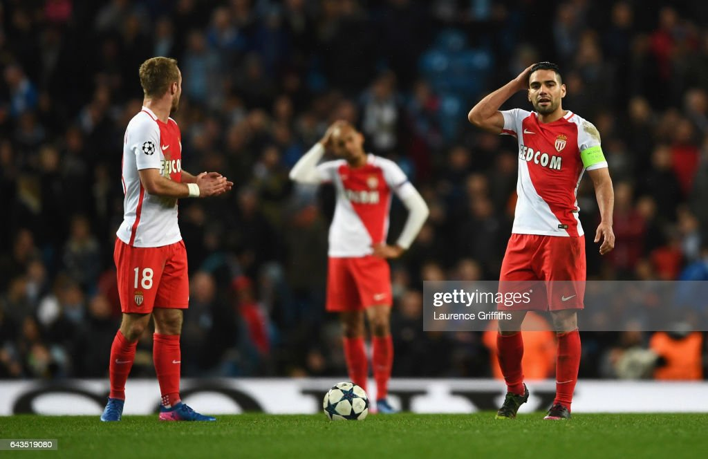 Valere Germain (18) and Radamel Falcao Garcia of AS Monaco look despondent during the UEFA Champions League Round of 16 first leg match between Manchester City FC and AS Monaco at Etihad Stadium on February 21, 2017 in Manchester, United Kingdom.