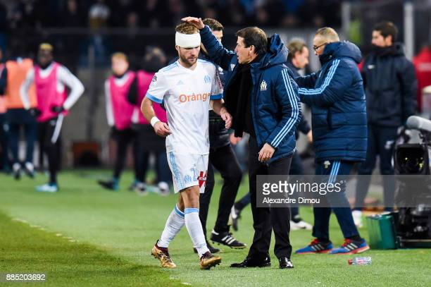 Valere Germain and Rudi Garcia Coach of Marseille during the Ligue 1 match between Montpellier Herault SC and Olympique Marseille at Stade de la...