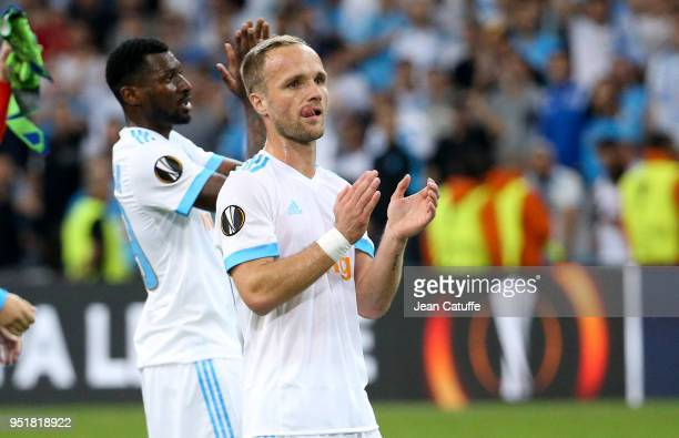 Valere Germain Andre Zambo Anguissa of OM celebrate the victory following the UEFA Europa League semi final first leg match between Olympique de...