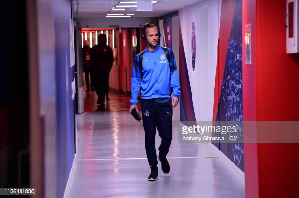 Valere Germain arrive at the Ligue 1 match between Paris Saint Germain and Olympique de Marseille at Parc des Princes on March 17 2019 in Paris France