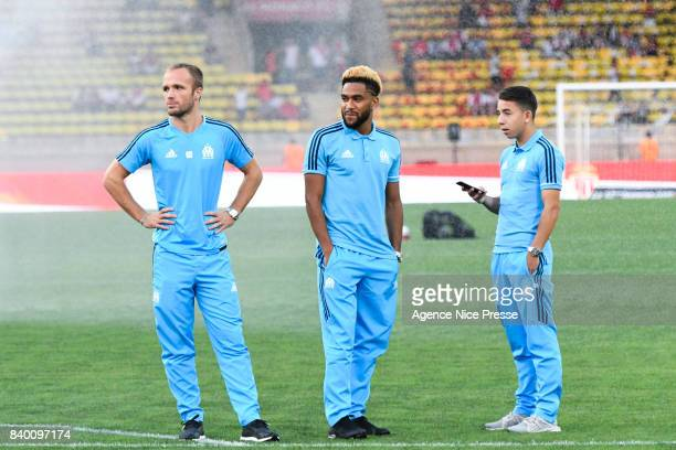 Valere Germain Jordan Amavi and Maxime Lopez of Marseille during the Ligue 1 match between AS Monaco and Olympique Marseille at Stade Louis II on...