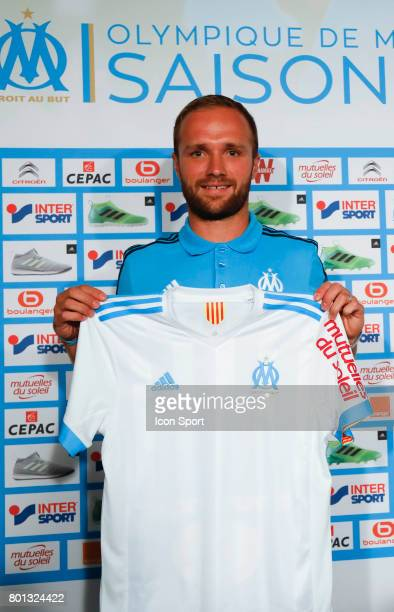 Valere Germain new signing player of Olympique de Marseille during press conference on June 26 2017 in Marseille France