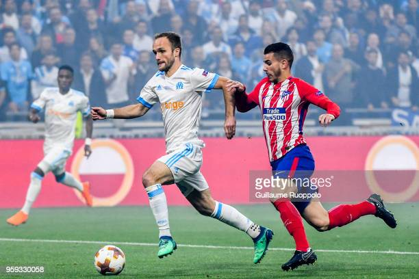 Valere Germain of Marseille and Lucas Hernandez of Atletico Madrid during the Europa League Final match between Marseille and Atletico Madrid at...