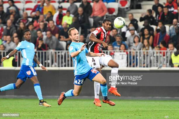 Valere Germain of Marseille and Marlon of Nice during the Ligue 1 match between OGC Nice and Olympique Marseille at Allianz Riviera on October 1 2017...