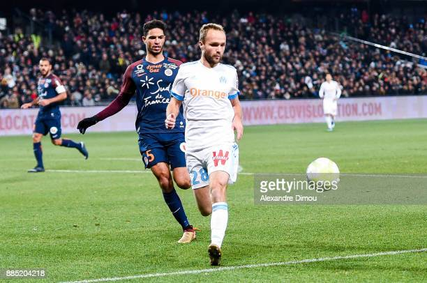 Valere Germain of Marseille and Pedro Mendez of Montpellier during the Ligue 1 match between Montpellier Herault SC and Olympique Marseille at Stade...