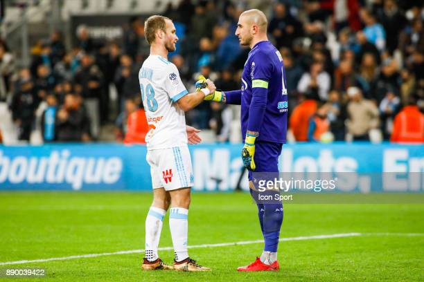 Valere Germain of Marseille and Stephane Ruffier of Saint Etienne during the Ligue 1 match between Olympique Marseille and AS SaintEtienne at Stade...