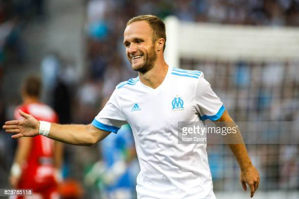 Valere Germain of Marseille celebrate his goal during the UEFA Europa League qualifying match between Marseille and Ostende at Stade Velodrome on...