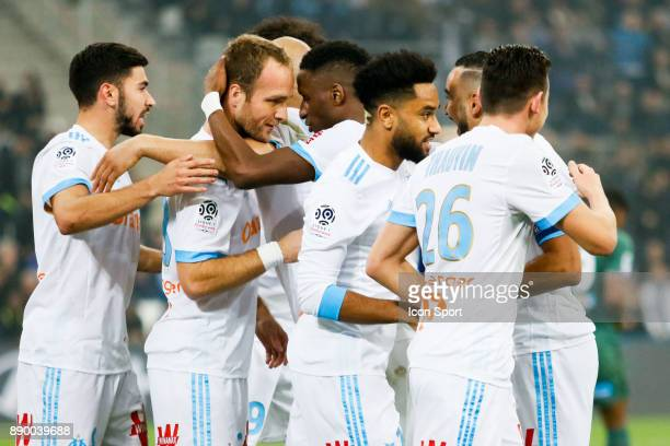 Valere Germain of Marseille celebrates his goal during the Ligue 1 match between Olympique Marseille and AS SaintEtienne at Stade Velodrome on...