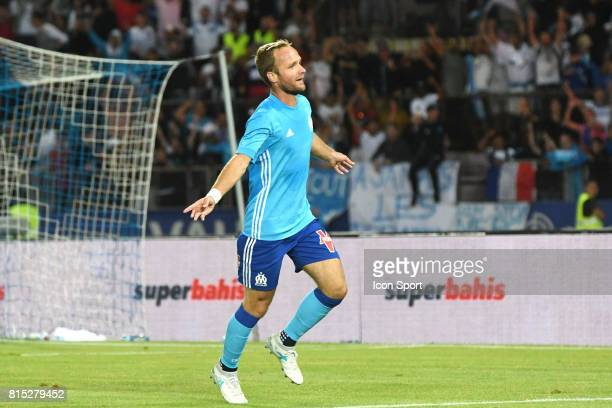 Valere Germain of Marseille celebrates scoring during the friendly match between Olympique de Marseille and Fenerbahce on July 15 2017 in Lausanne...