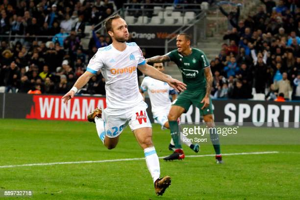 Valere Germain of Marseille celebrates scoring during the Ligue 1 match between Olympique Marseille and AS SaintEtienne at Stade Velodrome on...