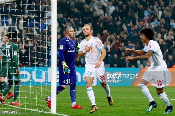 Valere Germain of Marseille celebrates scoring his side's first goal during the Ligue 1 match between Olympique Marseille and AS SaintEtienne at...